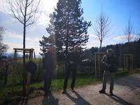 <p>  Zbrane so nagovorili prof. Janez Koželj, lastnik gospod Jože Čad in vodja Službe krajinskega parka Andrej Verlič; <br>  Foto: Nataša Jazbinšek Seršen </p>